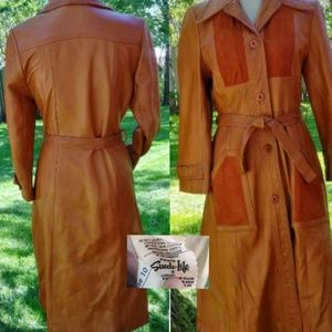 Vintage Carmel leather and suede trench coat